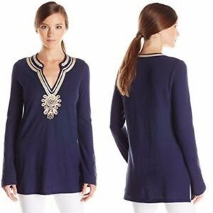 Lilly Pulitzer navy and gold tunic EUC Small